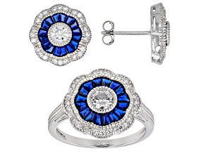 Lab Blue Spinel & White Cubic Zirconia Rhodium Over Silver Ring and Earrings 5.50ctw