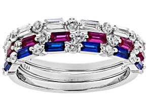 Lab Ruby, Lab Blue Spinel & White Cubic Zirconia Rhodium Over Silver Ring Set 2.62CTW