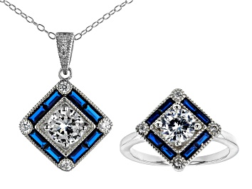 Picture of Lab Blue Spinel And White Cubic Zirconia Rhodium Over Silver Ring And Pendant With Chain 6.07CTW