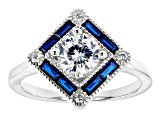 Lab Blue Spinel And White Cubic Zirconia Silver Ring And Pendant With Chain 6.07CTW