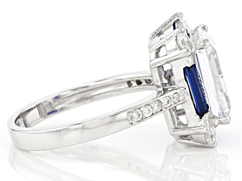 Lab Blue Spinel And White Cubic Zirconia Rhodium Over Sterling Silver Ring 7.44CTW