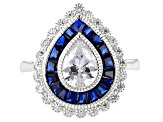 Lab Created Blue Spinel & White Cubic Zirconia Rhodium Over Sterling Silver Ring 4.68ctw