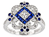 Lab Created Blue Spinel & White Cubic Zirconia Rhodium Over Silver Ring 1.75ctw