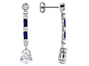 Lab Created Blue Spinel & White Cubic Zirconia Rhodium Over Sterling Silver Dangle Earrings 5.68ctw