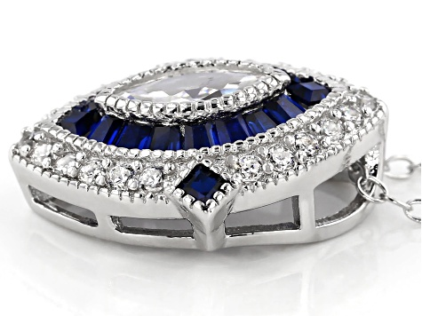 Lab Created Blue Spinel & White Cubic Zirconia Rhodium Over Silver Pendant With Chain 2.32ctw