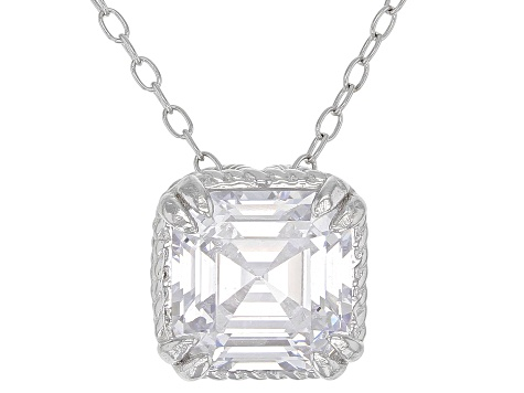 White Cubic Zirconia Rhodium Over Sterling Silver Earrings And Pendant With Chain Set 10.98CTW