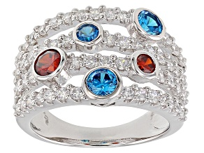 Blue, Red, And White Cubic Zirconia Rhodium Over Sterling Silver Ring 3.33CTW