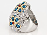Blue, Red, And White Cubic Zirconia 18K Yellow Gold And Rhodium Over Sterling Silver Ring 4.09CTW