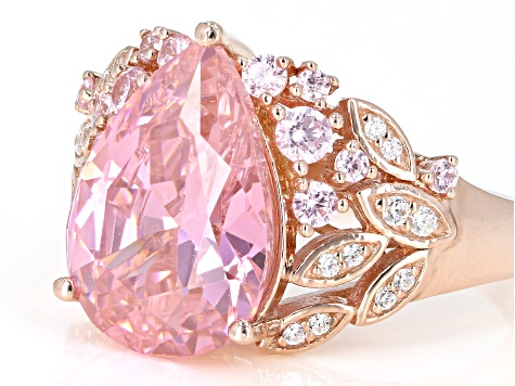 Pink and White Cubic Zirconia Eterno 18k Rose Gold Over Sterling Silver Ring 9.64ctw