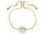 White Cubic Zirconia 18k Yellow Gold Over Sterling Silver Adjustable Paw Print Bracelet 0.62ctw