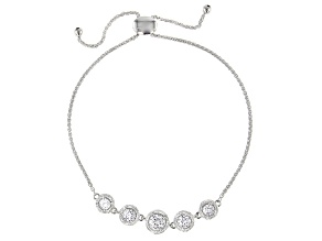White Cubic Zirconia Rhodium Over Sterling Silver Adjustable Bracelet 2.66ctw