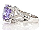 Purple and White Cubic Zirconia Rhodium Over Sterling Silver Ring 14.99ctw