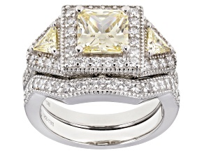 Yellow and White Cubic Zirconia Rhodium Over Sterling Silver Ring With Band 4.43ctw