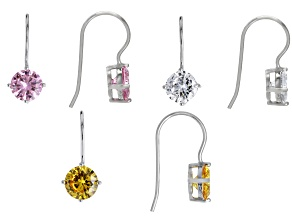 Pink White and Yellow Cubic Zirconia Rhodium Over Sterling Silver Earrings 13.02ctw