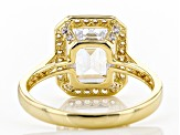White Cubic Zirconia 18K Yellow Gold Sterling Silver Ring 6.63ctw