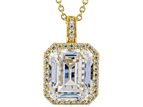 White Cubic Zirconia 18K Yellow Gold Over Sterling Silver Pendant With Chain