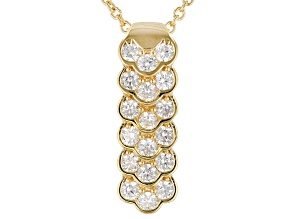 White Cubic Zirconia 18K Yellow Gold Over Sterling Silver Cluster Pendant With Chain