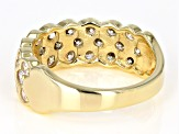White Cubic Zirconia 18K Yellow Gold Over Sterling Silver Cluster Ring