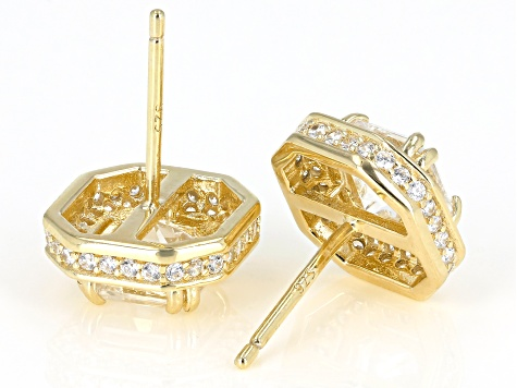 White Cubic Zirconia 18k Yellow Gold Over Sterling Silver Earrings 4.63ctw