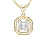 White Cubic Zirconia 18k Yellow Gold Over Sterling Silver Pendant With Chain 5.18ctw