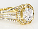 White Cubic Zirconia 18k Yellow Gold Over Sterling Silver Ring 4.15ctw