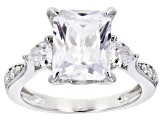 White Cubic Zirconia Rhodium Over Sterling Silver Engagement Ring 7.37ctw.