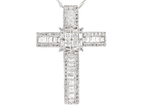 White Cubic Zirconia Rhodium Over Sterling Silver Cross Pendant With Chain 3.75ctw