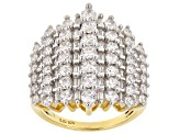White Cubic Zirconia 18k Yellow Gold Over Sterling Silver Ring 5.20ctw
