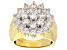 White Cubic Zirconia 18k Yellow Gold Over Sterling Silver Cluster Ring 5.31ctw