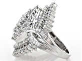 White Cubic Zirconia Rhodium Over Sterling Silver Center Design Ring 7.40ctw