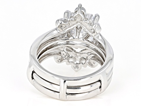 White Cubic Zirconia Rhodium Over Sterling Silver Center Design Ring with Band 7.34ctw