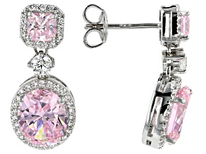 Pink and White Cubic Zirconia Rhodium Over Sterling Silver Earrings 8.66ctw