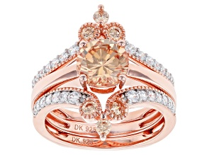 Champagne and White Cubic Zirconia 18k Rose Gold Over Sterling Silver Ring With Guard 3.83ctw