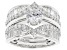 White Cubic Zirconia Rhodium Over Sterling Silver Ring With Guard 4.69ctw