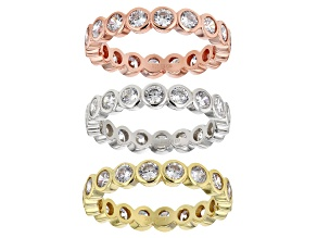 White Cubic Zirconia Rhodium And 18k Yellow and Rose Gold Over Sterling Silver Ring Set of 3 9.75ctw