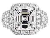 White Cubic Zirconia Asscher Cut And Round Rhodium Over Sterling Silver Ring 10.63ctw