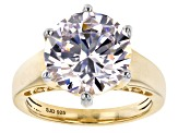 White Cubic Zirconia 18k Yellow Gold Over Sterling Silver Ring 11.90ctw