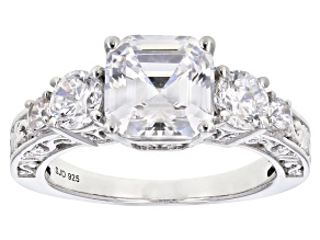 White Cubic Zirconia Rhodium Over Sterling Silver Engagement Ring 5.73ctw