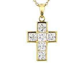 White Cubic Zirconia 18k Yellow Gold Over Sterling Silver Cross Pendant With Chain 3.24ctw
