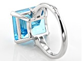 Blue and White Cubic Zirconia Rhodium Over Sterling Silver Ring 15.34ctw