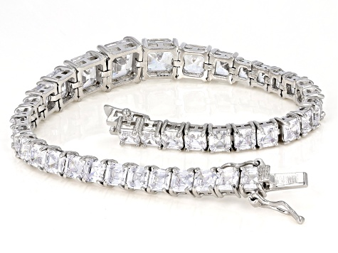 White Cubic Zirconia Rhodium Over Sterling Silver Tennis Bracelet 33.35ctw