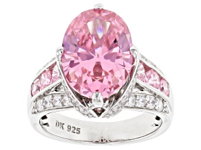 Pink and White Cubic Zirconia Rhodium Over Sterling Silver Ring 8.51ctw