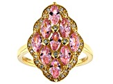 Pink and White Cubic Zirconia 18k Yellow Gold Over Sterling Silver Ring 3.17ctw