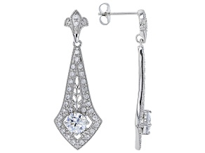 White Cubic Zirconia Rhodium Over Sterling Silver Earrings 2.29ctw