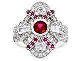 Lab Created Ruby and White Cubic Zirconia Rhodium Over Sterling Silver Ring 2.10ctw