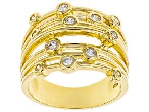 White Cubic Zirconia 18k Yellow Gold Over Sterling Silver Ring 0.58ctw