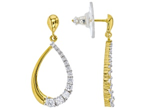 White Cubic Zirconia 18k Yellow Gold Over Sterling Silver Earrings 1.57ctw