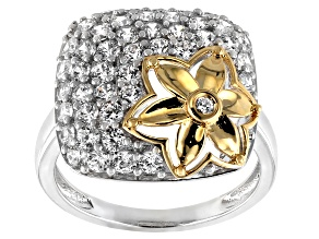 White Cubic Zirconia Rhodium Over Sterling Silver and 18k Yellow Gold Over Sterling Ring 2.7ctw