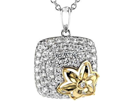 White Cubic Zirconia Rhodium and 18k Yellow Gold Over Sterling Silver Pendant With Chain 2.7ctw