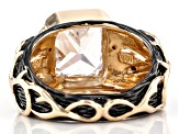 White Cubic Zirconia 18K Yellow Gold Over Silver and Black Rhodium Over Silver Ring 6.55ctw